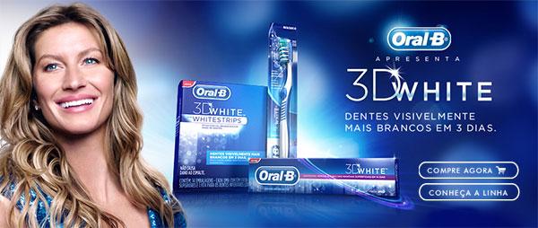 Oral-B apresenta: 3D White - Dentes visivelmente mais brancos em 3 dias. Compre agora - Conheça a linha